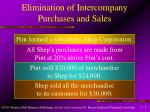 elimination of intercompany purchases and sales