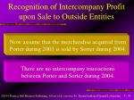 recognition of intercompany profit upon sale to outside entities