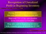 recognition of unrealized profit in beginning inventory