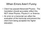 when errors aren t funny