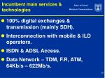incumbent main services technologies