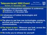 telecom israel 2002 event tel aviv 4 7 november 2002