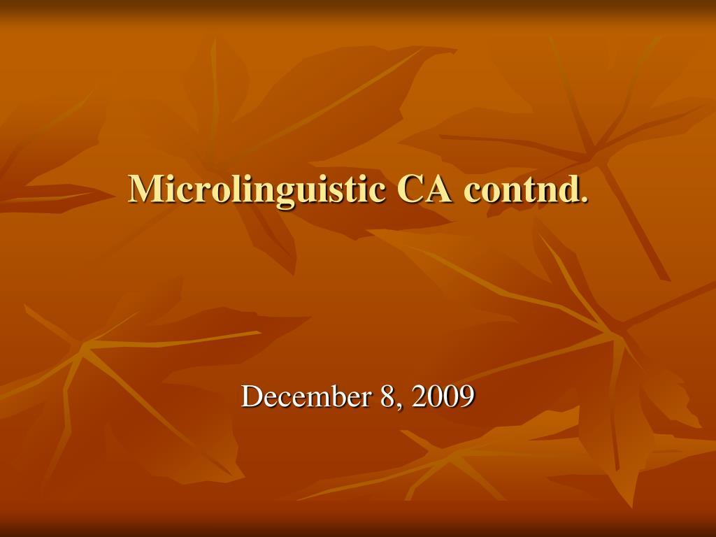 microlinguistic ca contnd l.