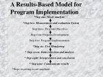 a results based model for program implementation