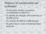 purposes of measurement and evaluation