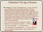 classicism the age of reason