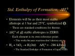 std enthalpy of formation h f