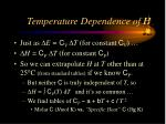 temperature dependence of h