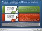 annonce les options vecd vont tre modifi es compter du 1er juillet 2010