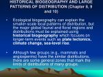 historical biogeography and large patterns of distribution chapter 8 9 and 10