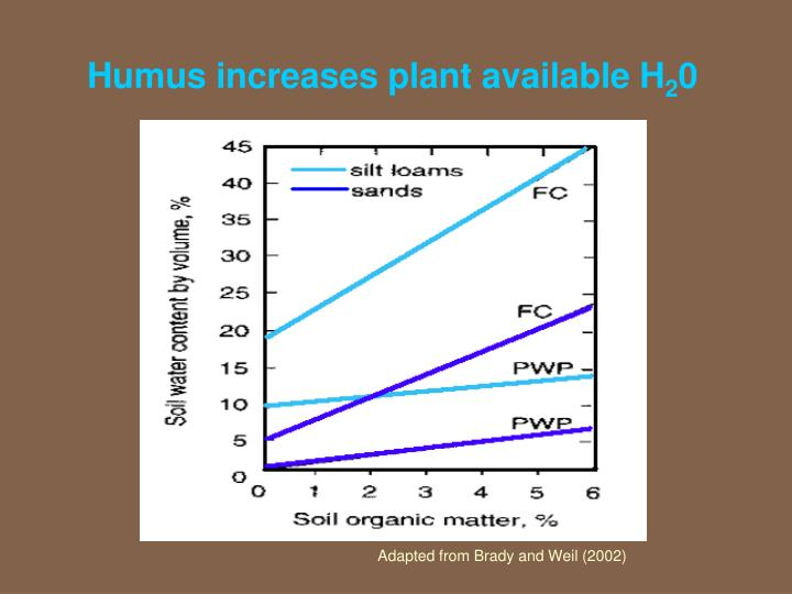 Humus increases plant available H