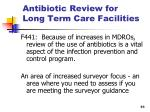 antibiotic review for long term care facilities