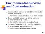 environmental survival and contamination