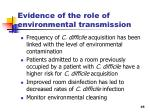evidence of the role of environmental transmission