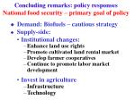 concluding remarks policy responses national food security primary goal of policy