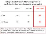 integration in china s markets percent of market pairs that have integrated price series