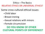 ethics the basics relative ethics or universal ethics