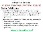ethics the basics relative ethics or universal ethics15