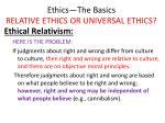 ethics the basics relative ethics or universal ethics16