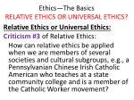 ethics the basics relative ethics or universal ethics27