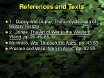 references and texts