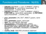 functions and procedures mysql