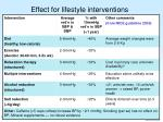 effect for lifestyle interventions