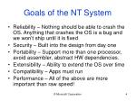 goals of the nt system