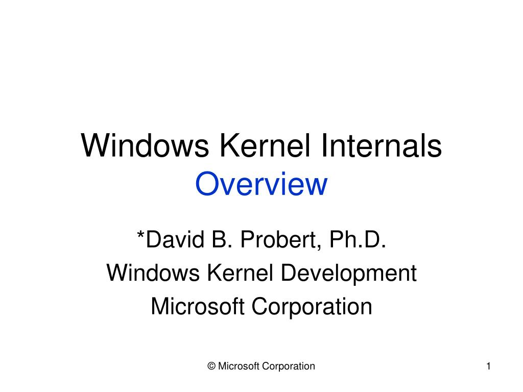 windows kernel internals overview l.