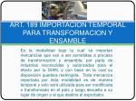 art 189 importacion temporal para transformacion y ensamble