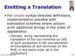 emitting a translation
