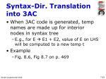syntax dir translation into 3ac