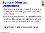 syntax directed definitions