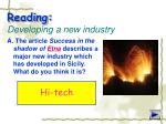 reading developing a new industry