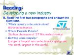 reading developing a new industry1
