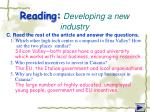 reading developing a new industry2