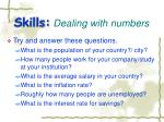 skills dealing with numbers