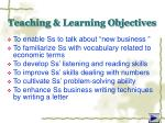 teaching learning objectives