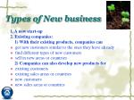 types of new business
