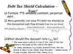 debt tax shield calculation note