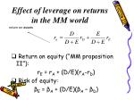 effect of leverage on returns in the mm world