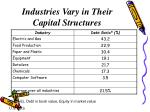 industries vary in their capital structures