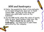 mm and bankruptcy
