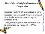 the miller modigliani irrelevance proposition