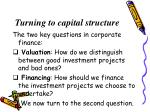 turning to capital structure