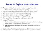 issues to explore in architecture