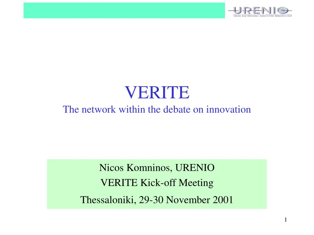 verite the network within the debate on innovation l.