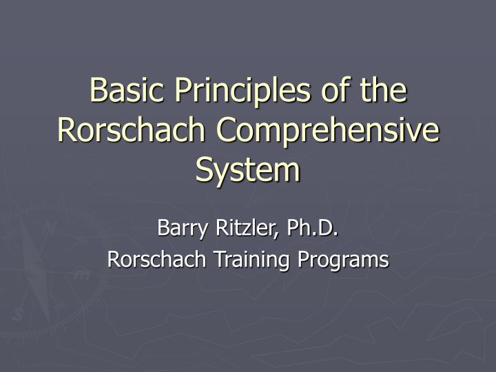 basic principles of the rorschach comprehensive system n.