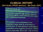 clinical history saul suster apesp seminary s o paulo 2003