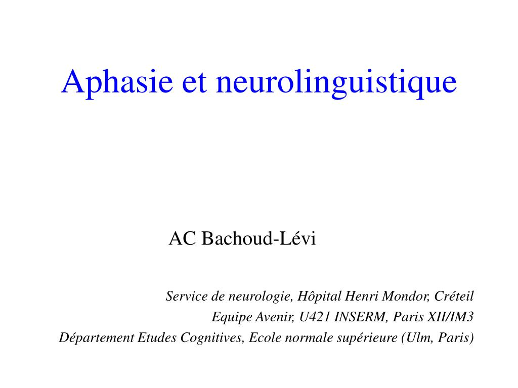 aphasie et neurolinguistique l.